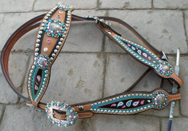paisley turquoise and pink headstall