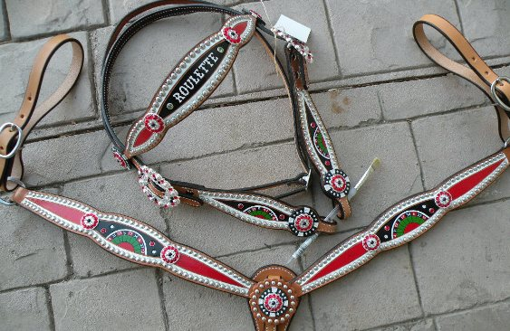 custom  hand painted horse tack set