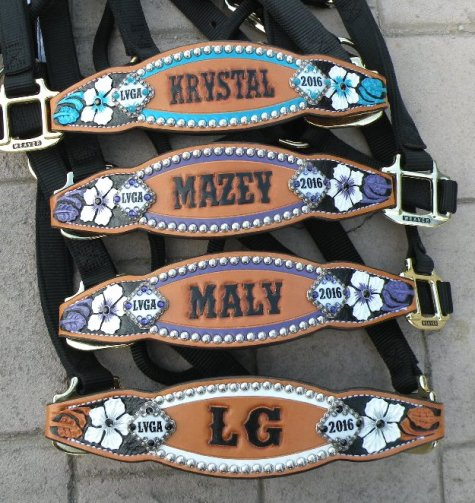 custom floral tooled award halters