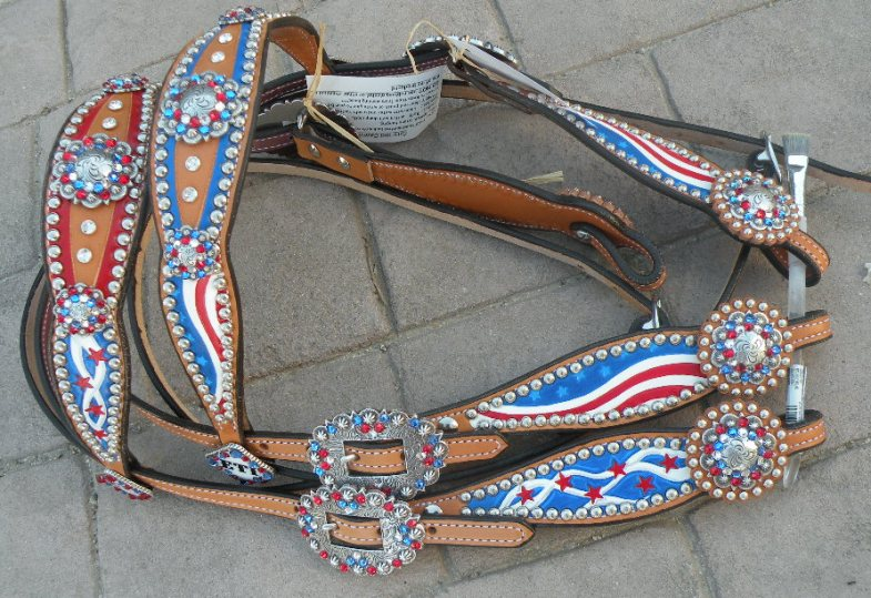 red whit and blue tack set headstall patriotic horse