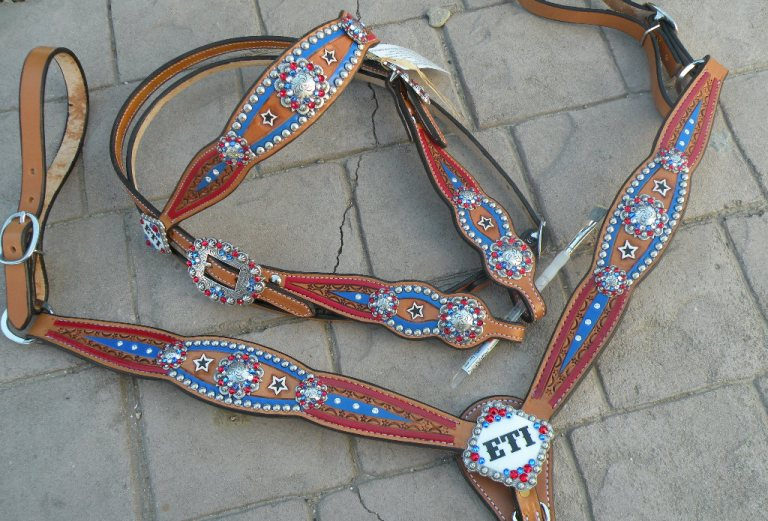 red white and blue trophy award tack set