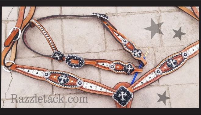 bone cross inlay tack set custom bling 3