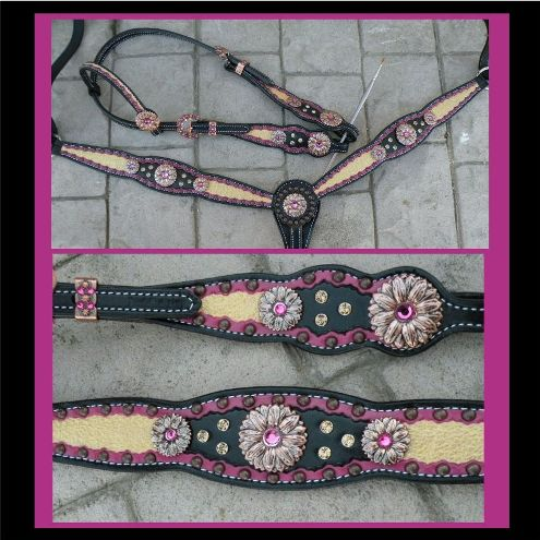 black gold fuchsia tack set