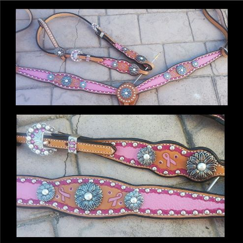 breast cancer ribbon horse tack set