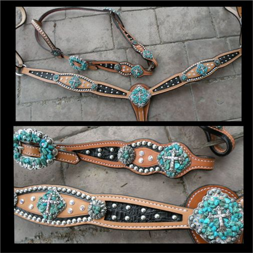 black inlay with turquoise chips