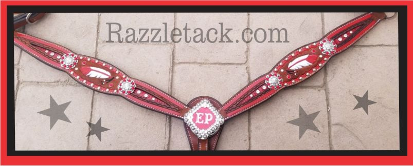 feather tooled horse tack headstall