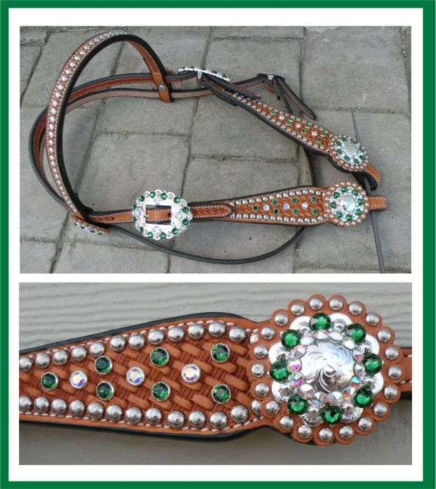 green crystal headstall tack set