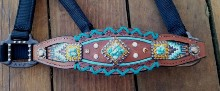 Turquoise and copper Whipstitch cris cross halter