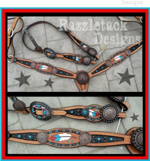 inlay custom horse tack set with tooled feathers