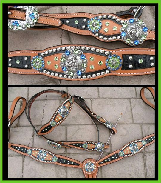lime and blue inlay tack