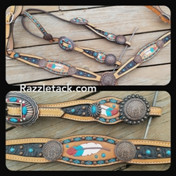 Black inlay set with feathers and indian skulls SALE $350