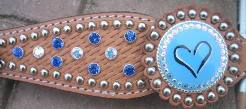 Custom blue heart headstall