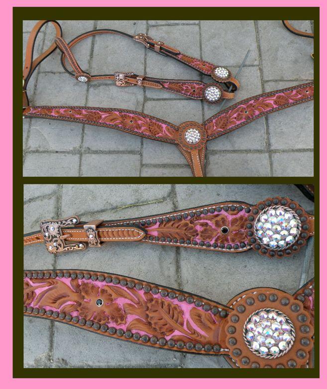 floral tooled tack set pink copper