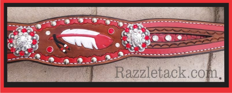 red feather tooled horse tack headstall