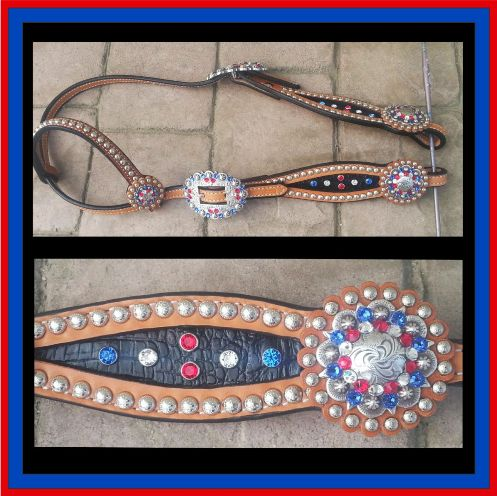 red white blue black inlay headstall