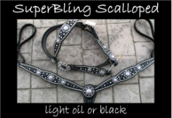 custom horse tack black leather bling sets